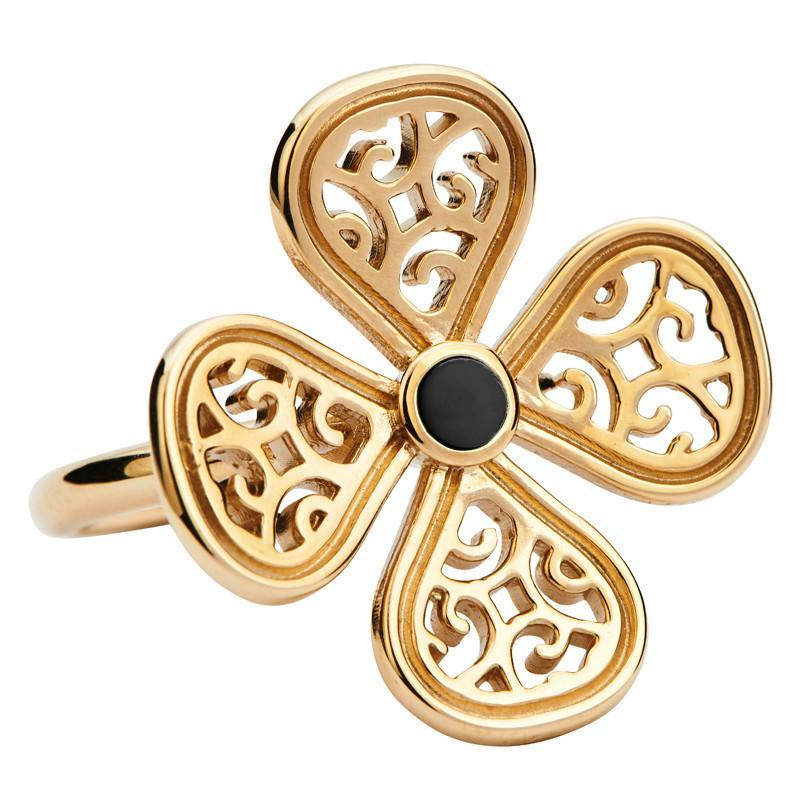 Rebecca Sellors Ring Flore 4 Petal Whitby Jet 9ct Yellow Gold