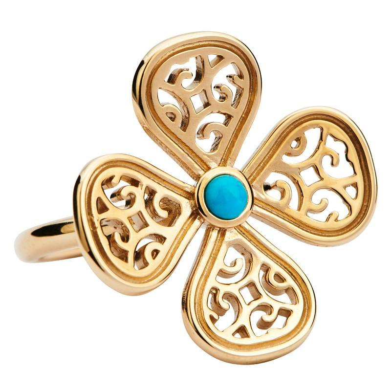 Rebecca Sellors Ring Flore 4 Petal Turquoise 9ct Yellow Gold