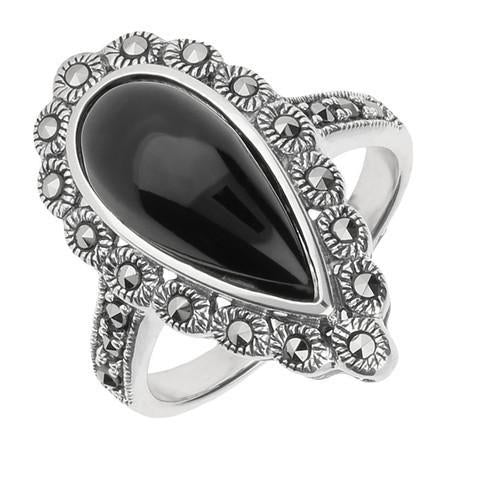 Silver Whitby Jet Marcasite Pear Centre Beaded Edge Ring