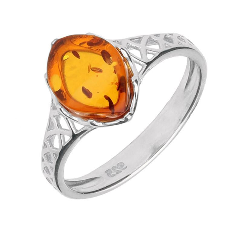 Silver And Amber Pierced Celtic Ring