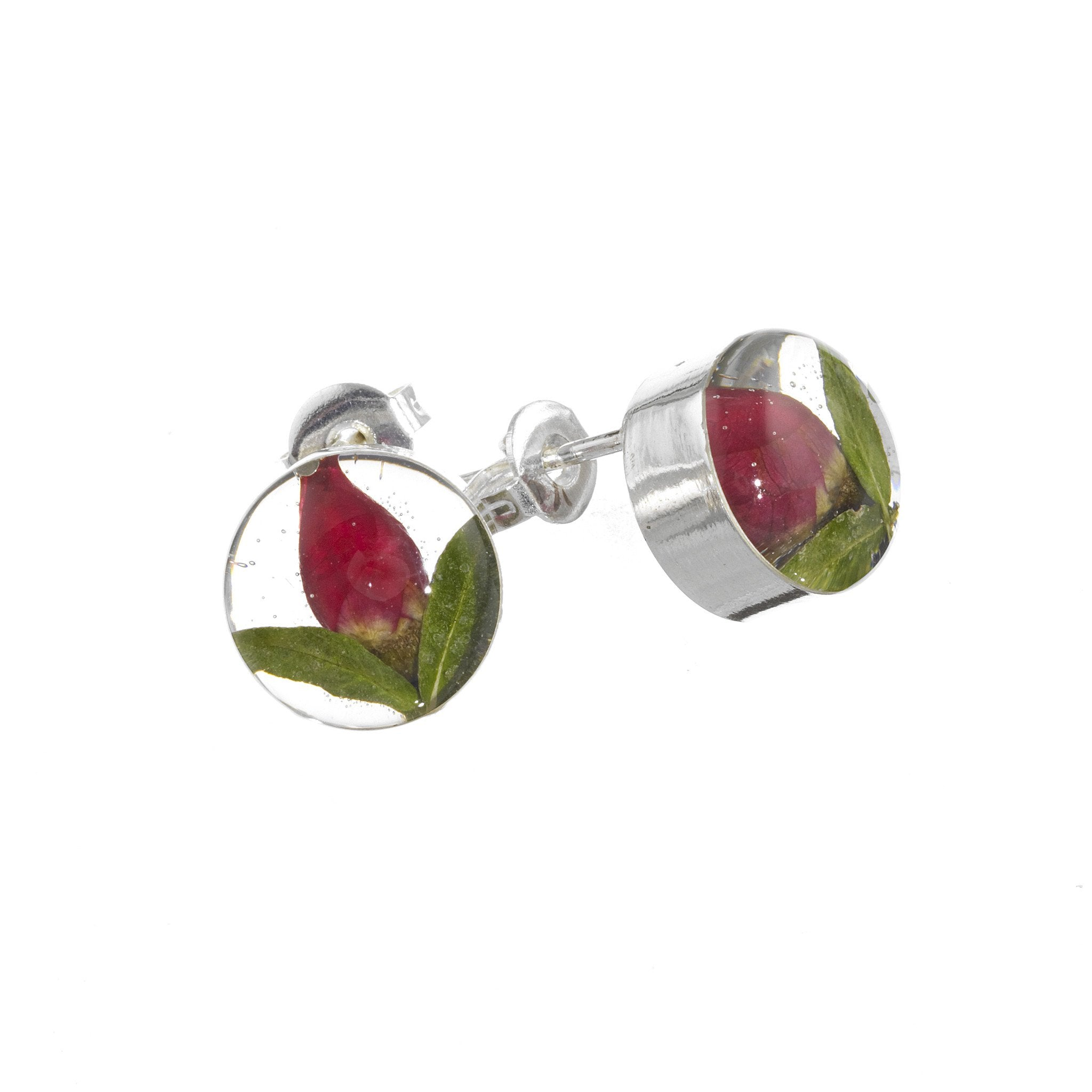 Shrieking Violet Earrings Rosebud Round Silver