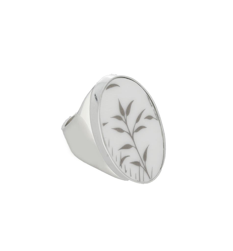 Royal Crown Derby Arboretum Silver White Oval Ring