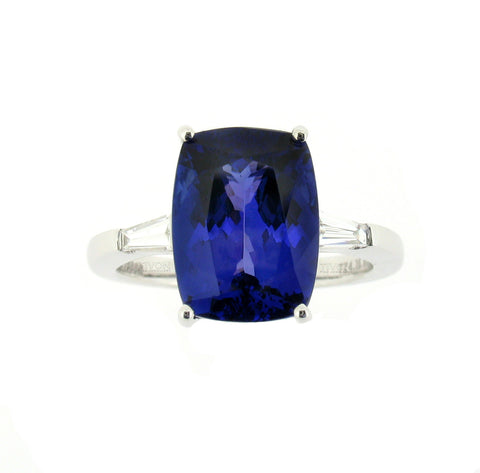 18ct White Gold Tanzanite and Diamond Cushion Cut Precision Ring