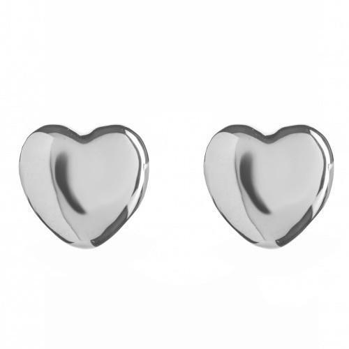 Rachel Galley Sterling Silver Amore Plain Heart Earrings