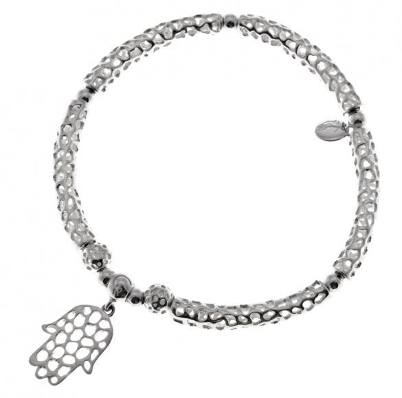 Rachel Galley Sterling Silver Hamsa Bar Elasticated Bracelet