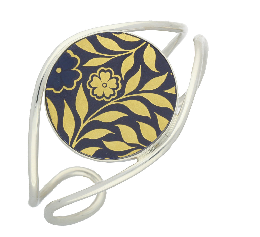 Royal Crown Derby Sudbury Silver Blue Yellow Round Bangle