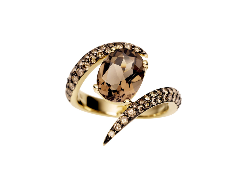 Shaun Leane Ring Aurora 18ct Yellow Gold With A Smokey Quartz And Brown Diamonds