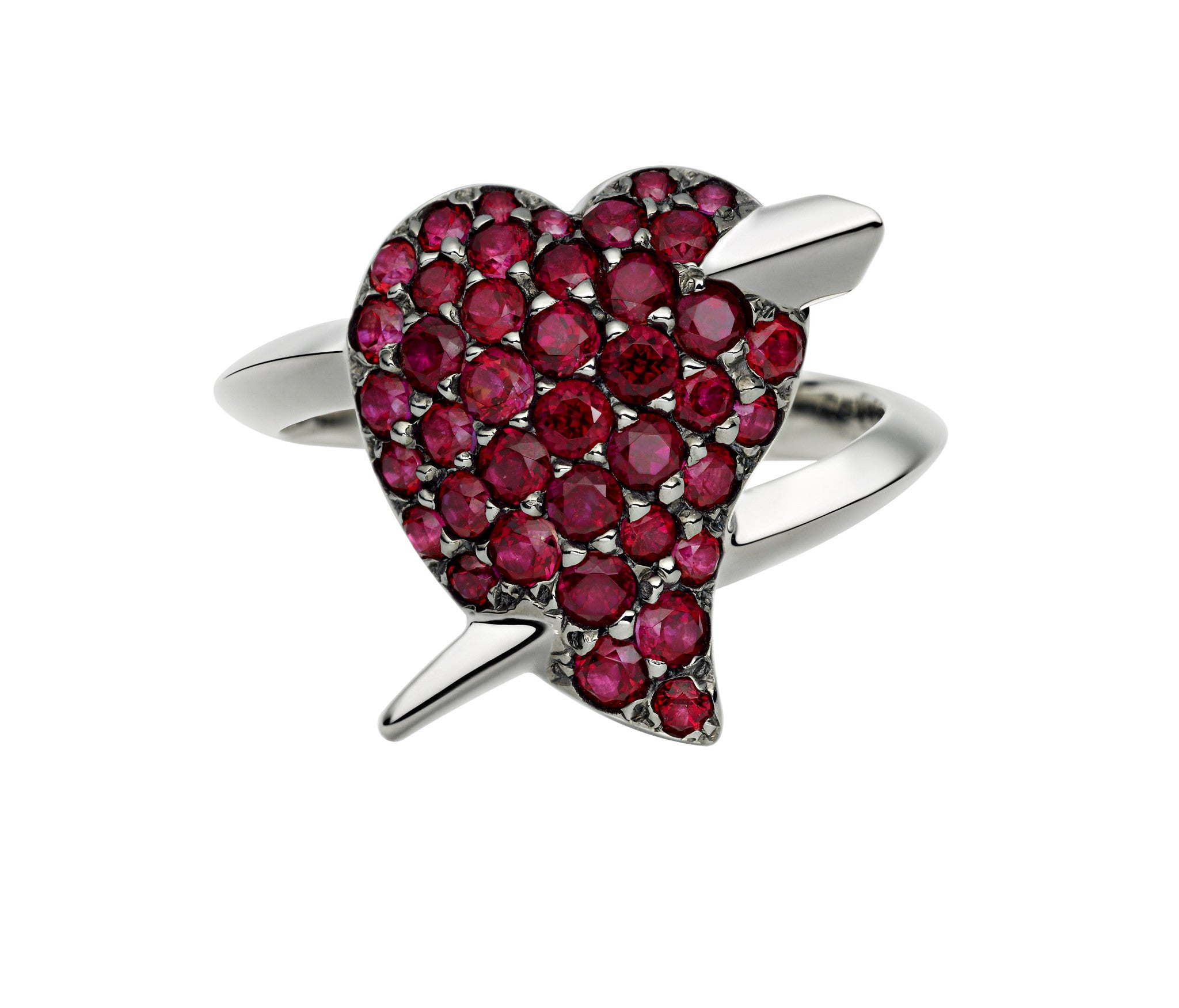 Shaun Leane Ring Hook My Heart Red Topaz Silver