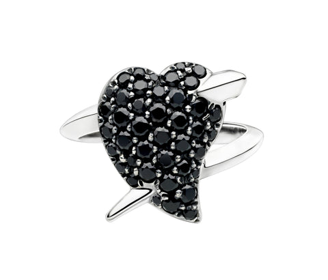 Shaun Leane Ring Hook My Heart Black Spinel Silver