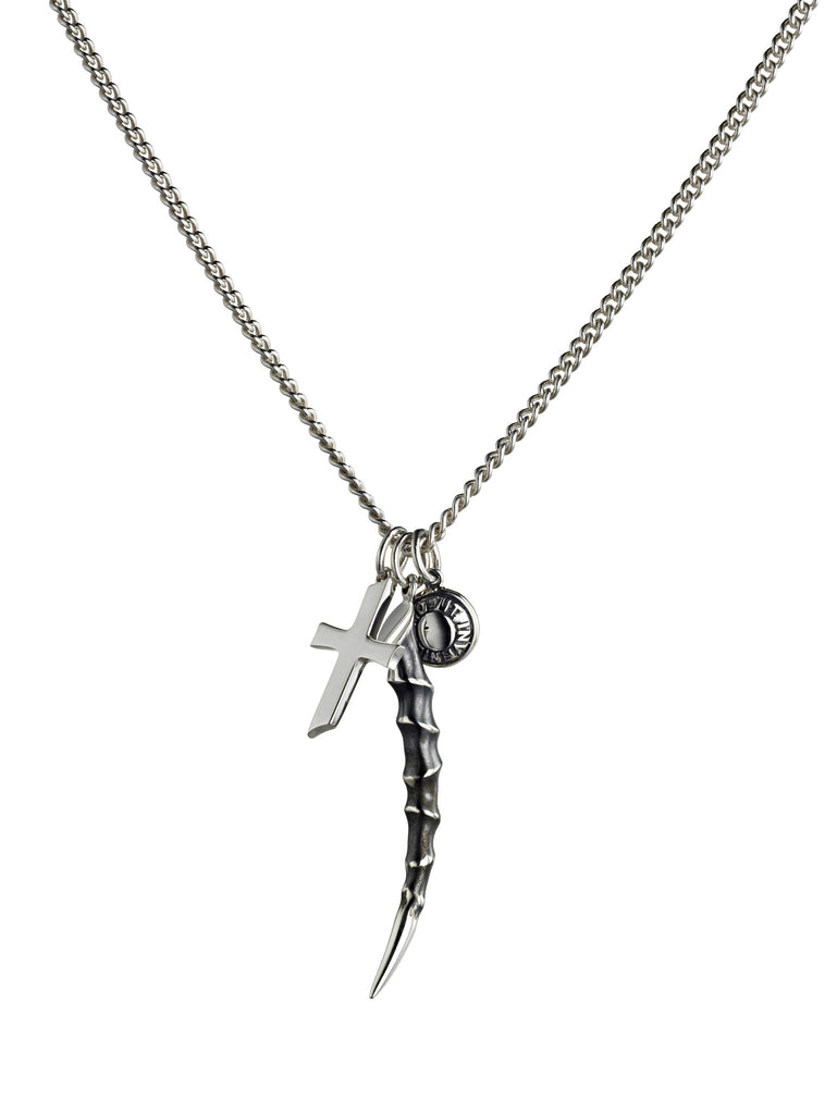 Shaun Leane Necklace Horn, Cross & Latin Button Charm Oxidised Silver