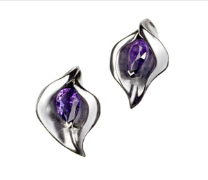 Shaun Leane Earrings Amethyst Lilly Stud Silver SLS049