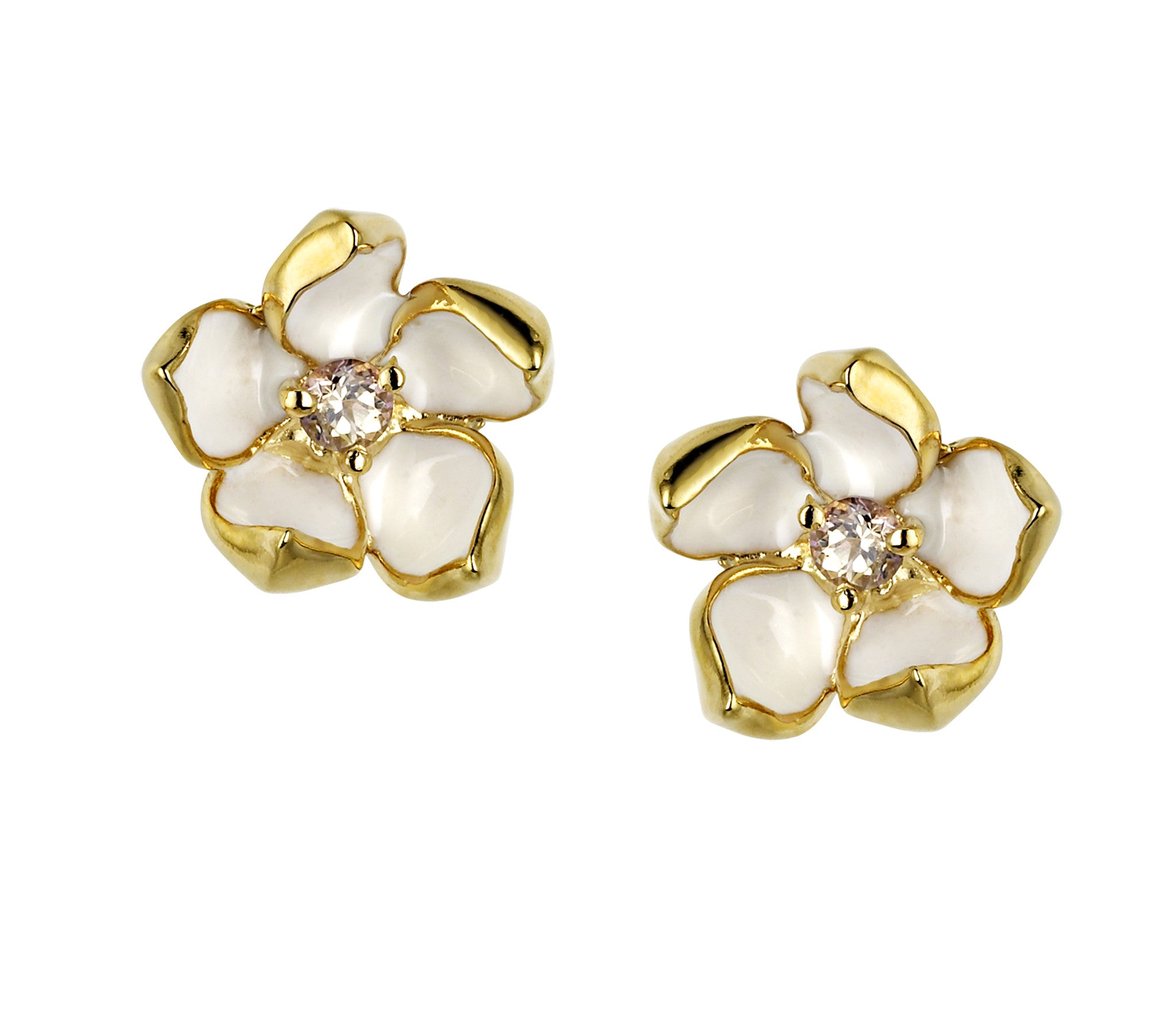 Shaun Leane Earrings Gold Vermeil and Topaz Small Blossom Studs Silver