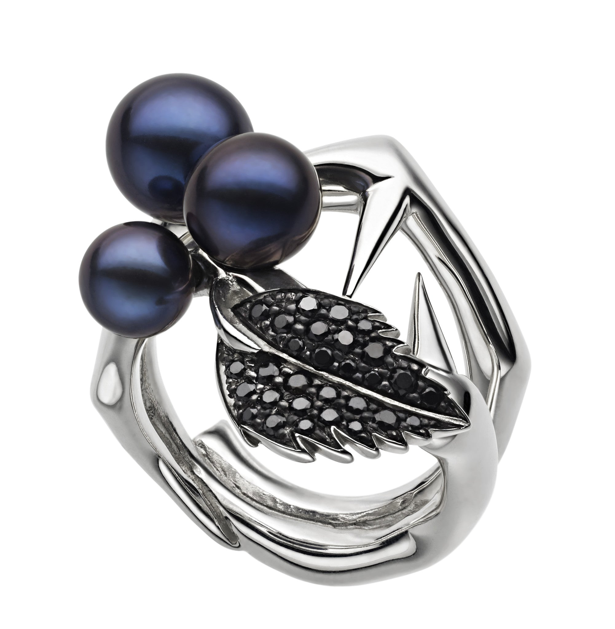 Shaun Leane Ring Black Pearl and Spinel Leaf Cluster Silver