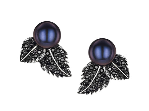 Shaun Leane Earrings Silver and Black Spinel Double Leaf Studs with Single Pearl