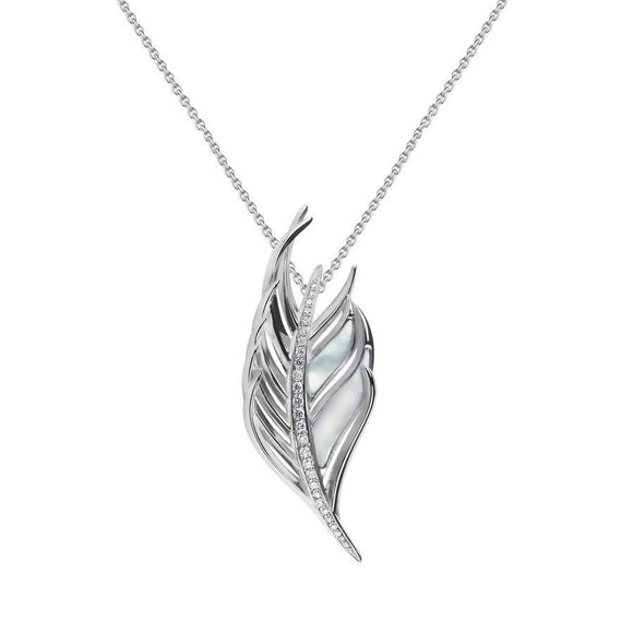 Shaun Leane Sterling Silver Diamond Mother of Pearl Feather Necklace, WF004.SSWHNOS.