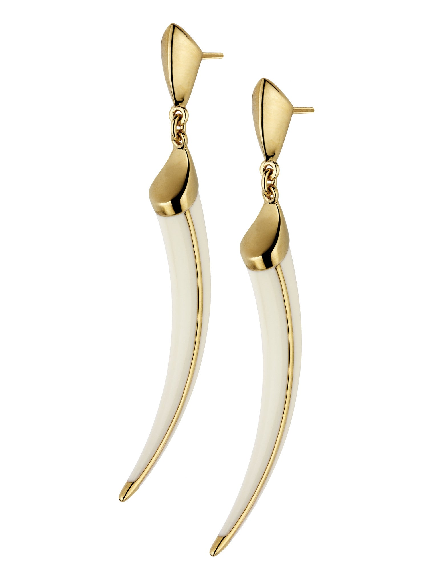Shaun Leane Earrings Tusk Cream Enamel Silver