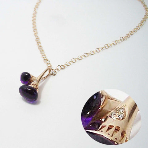Ponte Vecchio Necklace Amethyst Diamond 18ct Rose Gold