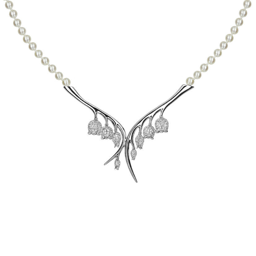 Shaun Leane 18ct White Gold 1.21ct Diamond White Pearl Maybell Branch Necklace