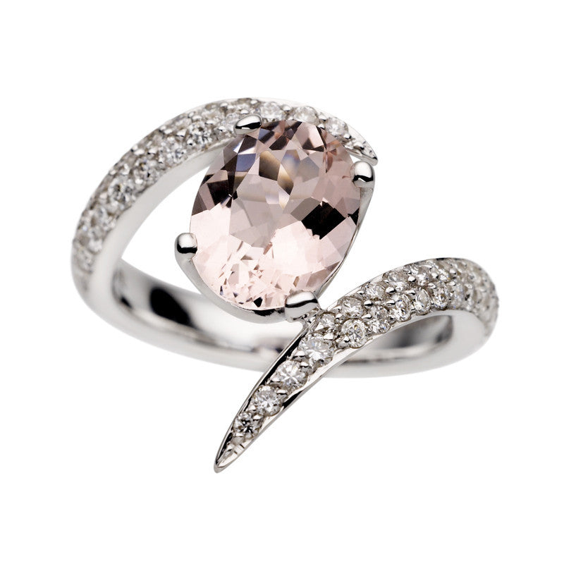 Shaun Leane 18ct White Gold 1.90ct Morganite Diamond Aurora Ring