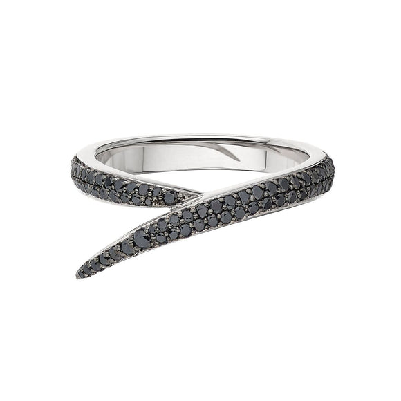 Shaun Leane 18ct White Gold Black Diamond Single Interlocking Ring. IM006.WGBKRZO.