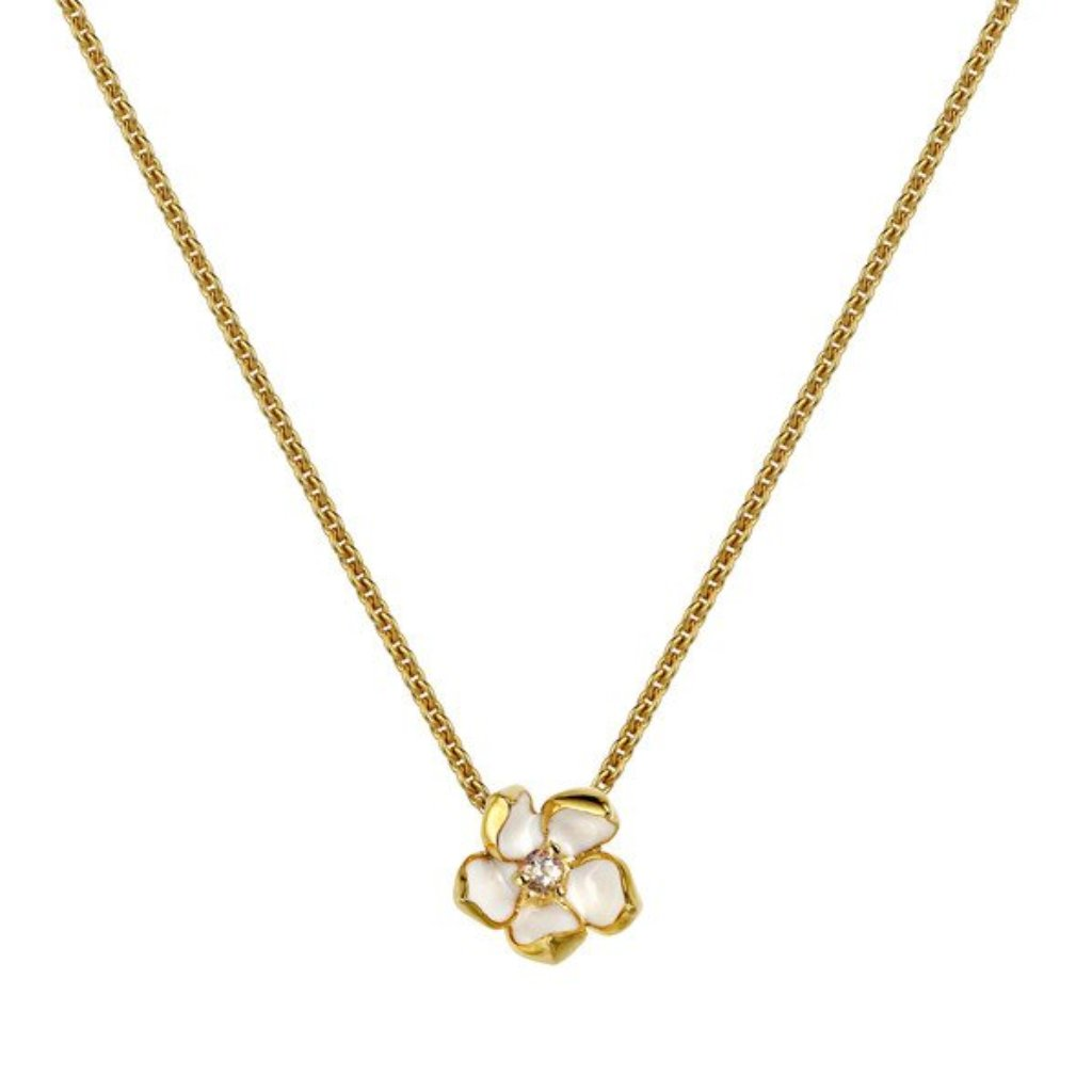 Shaun Leane Cherry Blossom Gold Vermeil Diamond Small Necklace