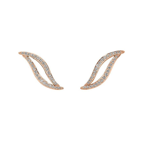 Shaun Leane Entwined 18ct Rose Gold 0.30ct Diamond Stud Earrings, EN057.RGWHEOS.