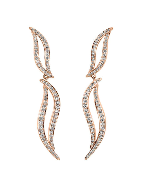 Shaun Leane Entwined 18ct Rose Gold 0.70ct Diamond Drop Earrings, EN054.RGWHEOS.