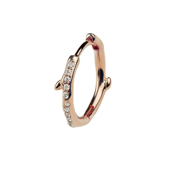 Shaun Leane Single Rose Gold Vermeil 0.06ct Diamond Cherry Blossom Hoop Earring. CB037.RVWHEOS. CB038.RVWHEOS