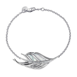 Shaun Leane White Feather Sterling Silver Diamond Mother of Pearl Bracelet, WF012.SSWHBOS.