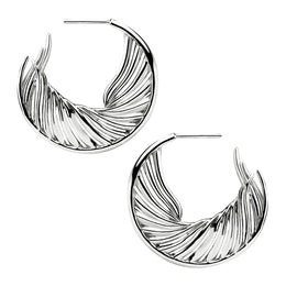 Shaun Leane White Feather Sterling Silver Hoop Earrings, WF008.SSNAEOS.