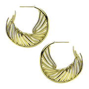 Shaun Leane White Feather Sterling Silver Yellow Gold Vermeil Hoop Earrings WF008.YVNAEOS