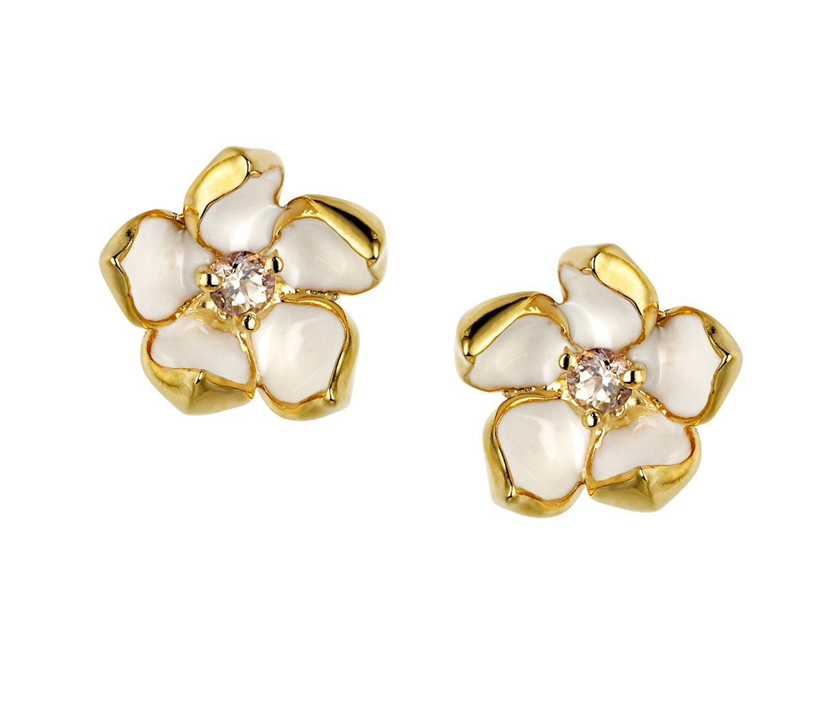 Shaun Leane Yellow Gold Vermeil 0.10ct Diamond Small Cherry Blossom Stud Earrings