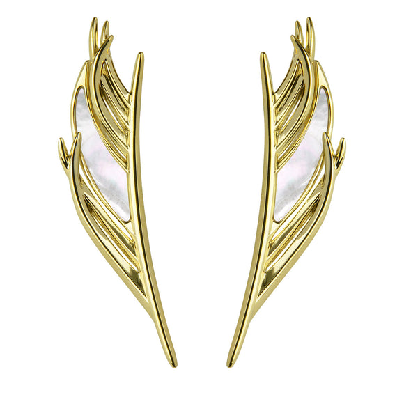 Shaun Leane Yellow Gold Vermeil Feather Mother of Pearl Earrings. WF010.YVWHEOS