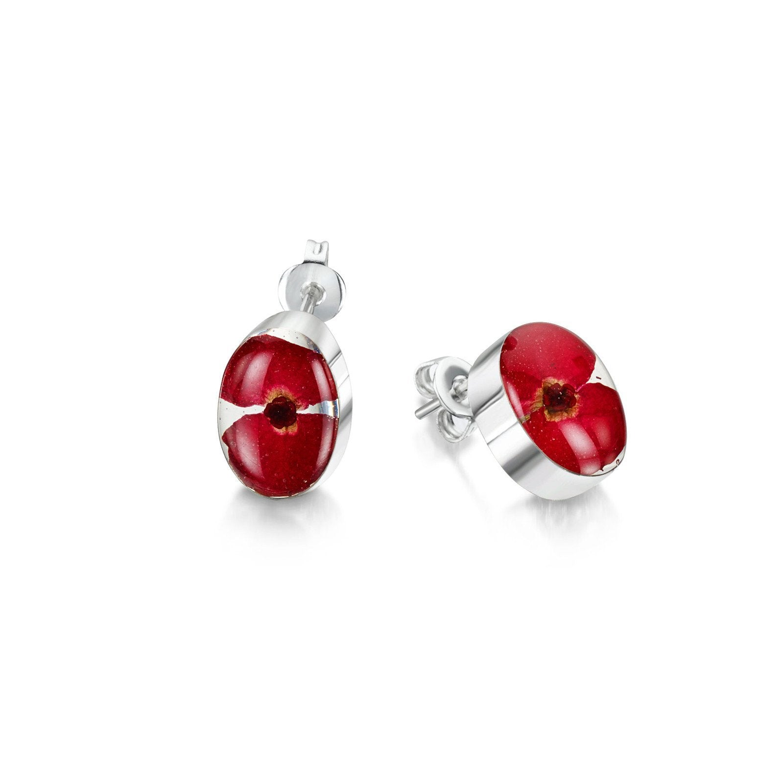 Sterling Silver Oval Stud Earrings Made With Real Poppies 6a3oSwr9