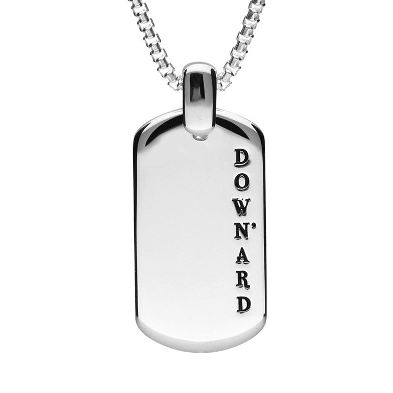 Shrovetide Collection Silver Down'ard Dog Tag Pendant