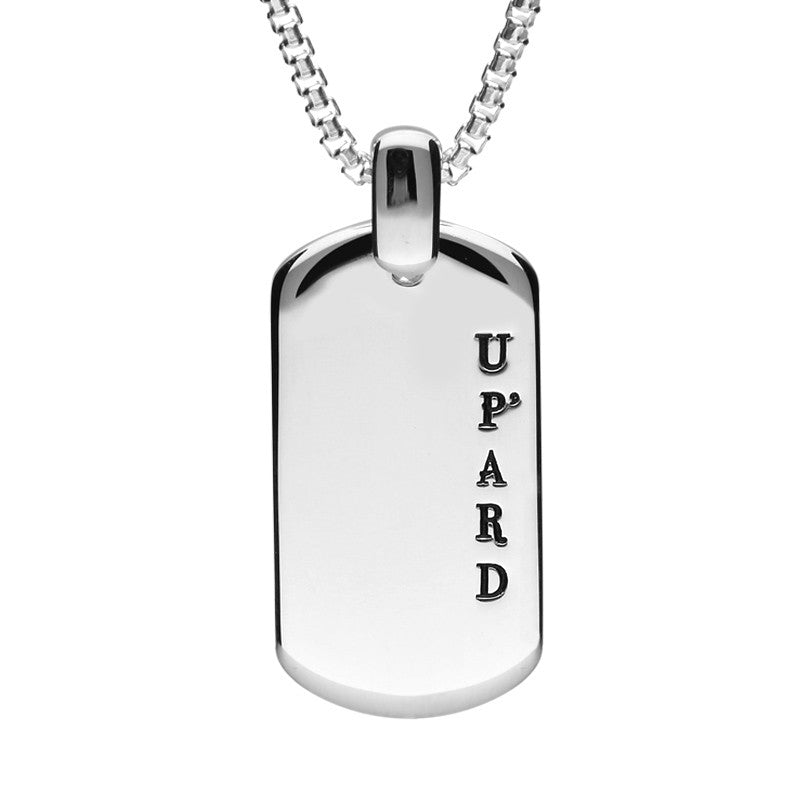 Shrovetide Collection Silver Up'ard Dog Tag Pendant