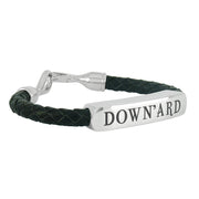 Shrovetide Sterling Silver Leather Gents Down'ard Black Bracelet, B900_21.5