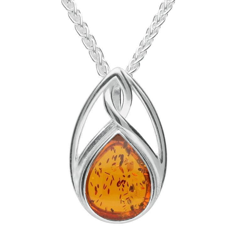 Silver Amber Pear Shaped Celtic Twist Necklace