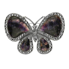 Sterling Silver Blue John Marcasite House Style Butterfly Brooch