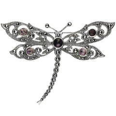 Sterling Silver Blue John Marcasite Five Stone House Style Dragonfly Brooch