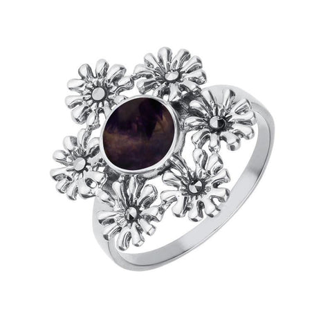 Silver Blue John Marcasite Flower Ring