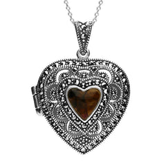 Sterling Silver Blue John Marcasite Large Heart Locket Necklace.