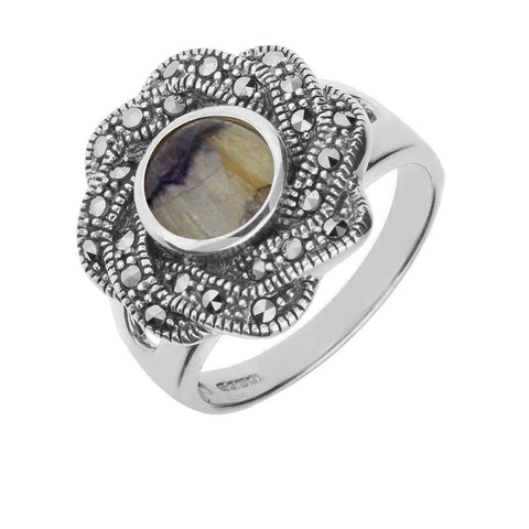 Silver Blue John Marcasite Ribbon Edge Ring