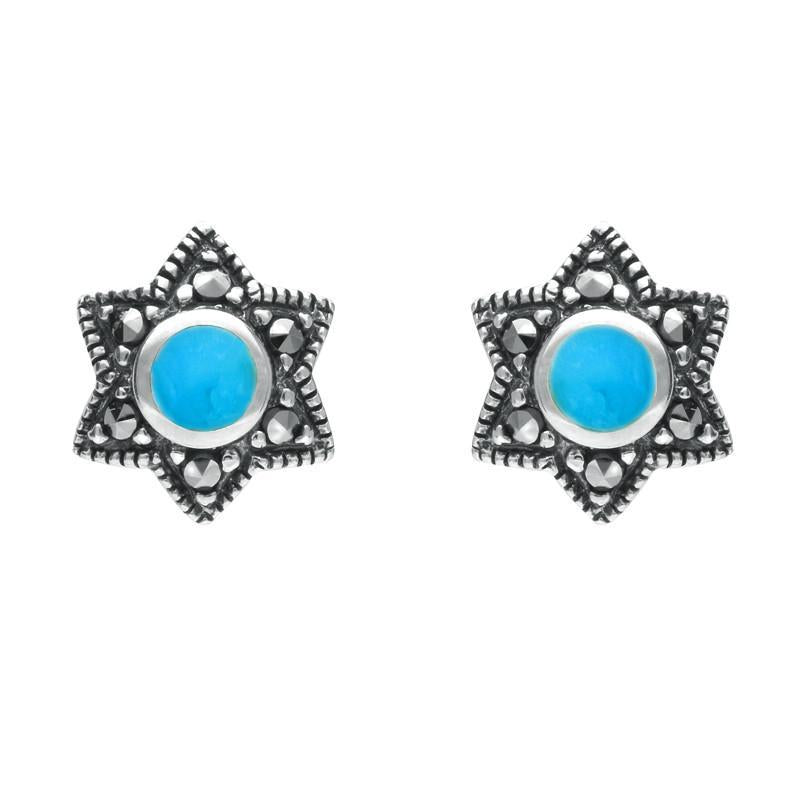 Silver Turquoise Marcasite 6 Point Star Stud Earrings