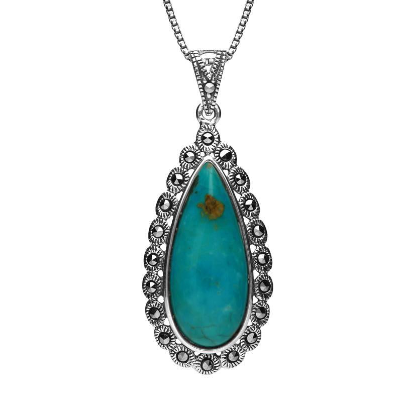 Sterling Silver Turquoise Marcasite Scalloped Edge Pear Necklace