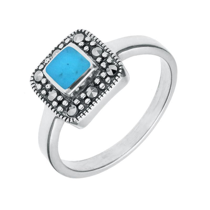 Silver Turquoise Marcasite Cushion Ring