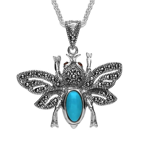 Sterling Silver Turquoise Marcasite Garnet Bee Pendant Necklace