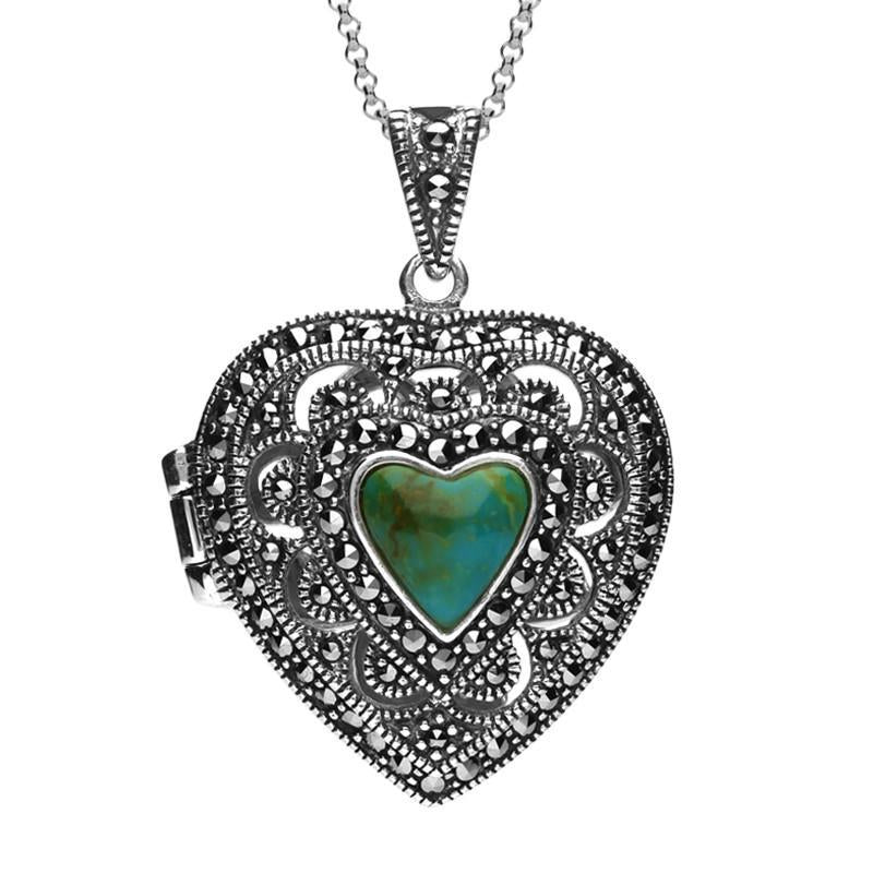 Silver Turquoise Marcasite Large Heart Locket Necklace