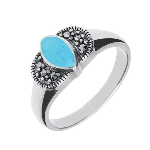 Silver Turquoise Marcasite Marquise Ring