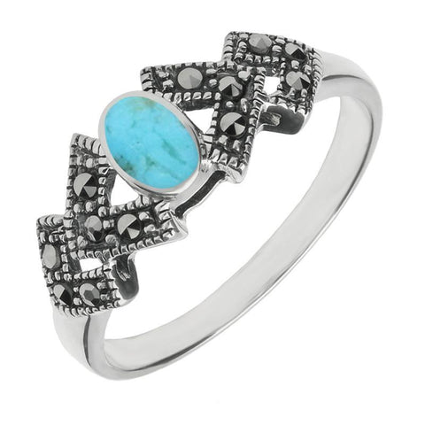 Silver Turquoise Marcasite Oval Triangle Ring